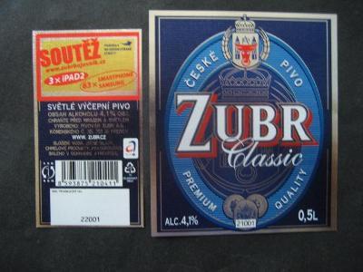 Pivní etiketa Zubr nepoužitá