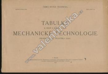 Tabulky k 1. a 2. části mechanické technologie