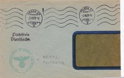 Úřední Praha 3.7.1939, Reichsprotektor. Dlouhá obálka-zastřižený pravý