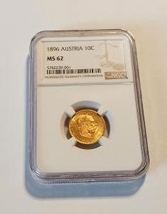 Zlatá vzácná 10 korona 1896  Rakousko NGC MS 62❗3.36g 900/1000 Au