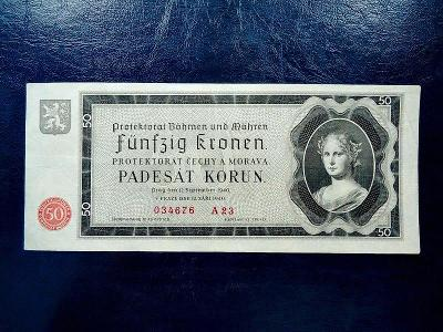 50 Korun 1940 serie A 23 NEPERFOROVANA