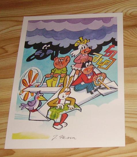 Čtyřlístek - Grafický list s podpisem - Komiksy