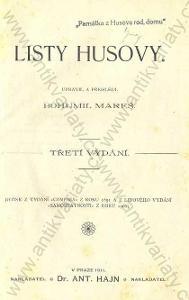 Listy Husovy upravil a přehlédl Bohumil Mareš 1911