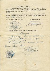 Potvrzeni pro Sudetskou Nemku z Karlovych Varu - cervenec 1945