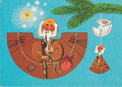 VYSTŘIHOVACÍ - vánoční ozdoba - dědeček - Trojka