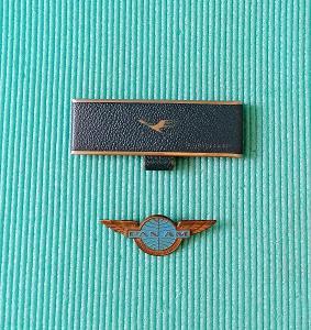 Starý sběratelský letecký odznak Panam a hřeben Lufthansa, letadlo