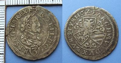 1624 - 3 krejcar, stříbro - Ferdinand II., Štýrsko