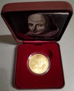 RRR! vzácná zlatá mince W. Shakespeare Proof, 2016 -200 kusů!! 31990,-