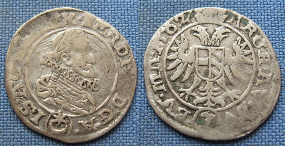 1627 - 3 krejcar, stříbro - Ferdinand II., Praha, Húbner - Numismatika