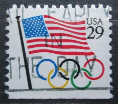 USA 1991 Vlajka a olympijské kruhy Mi# 2129 D 0597