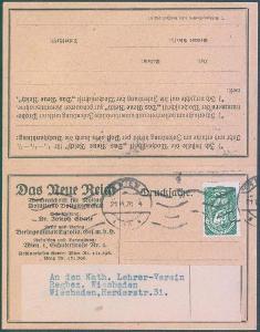 10B161 Dvojitý firemní  tiskopis Vídeň/ Wiesbaden- Das Neue Reich