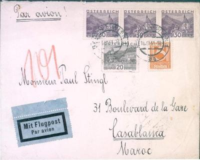 13B164 Letecký dopis/ Sanatoriun Dr.LAKATOS  Vídeň/ Casablaca- Maroc