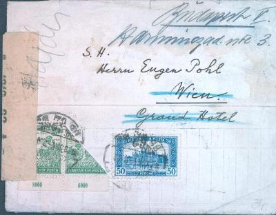 13B165 Dopis z Maďarska/Grant Hotel - půlená známka s okrajem cenzura