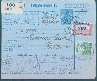 13B166 Provizorium - smíšená frankatura maďarská a přetisková/Hrvatska