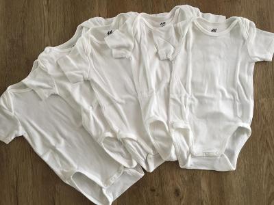Bílé dětské body krátký rukáv H&M vel. 9-12 měs. sada 5 ks