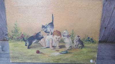 Olej na plátně Kočky