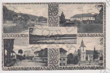 Merklín - Řečiště, zámek, pivovar a lihovar, most,