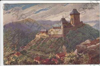 Karlštejn pohled z výšky dle originálu akad. malíř
