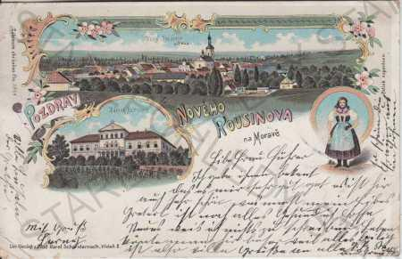 Nový Rousinov na Moravě, litografie, kolorovaná