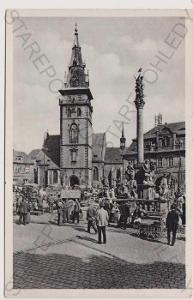 Chomutov - náměstí, trh, auto, kostel