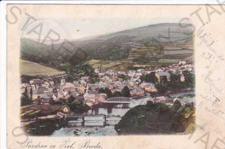 Železný Brod, celkový pohled, mosty, DA - Pohlednice