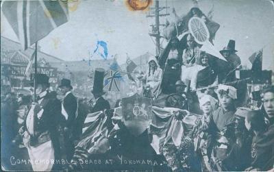 18B11 Japan - Japonsko- Yokohama, slavnosti- britské vlajky- RARITA!!!