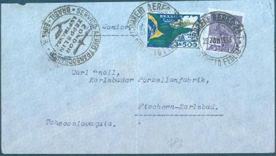 17B58 Brazílie/ Karlovy Vary, porcelánka- Zeppelin, vzácná známka !!!!