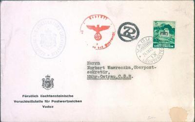 17B79 VADUZ - vrchní poštovní sekretář Moravská Ostrava- Wawreczka RR!