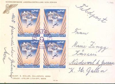17B116 Švýcarsko- ST.Gallen polní pošta, čtyřblok- mimořádné !!