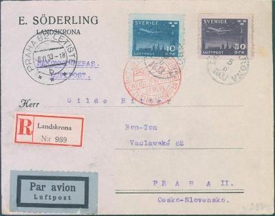 17B125 R letecký dopis Švédsko do Prahy přes Berlín, dekorativní