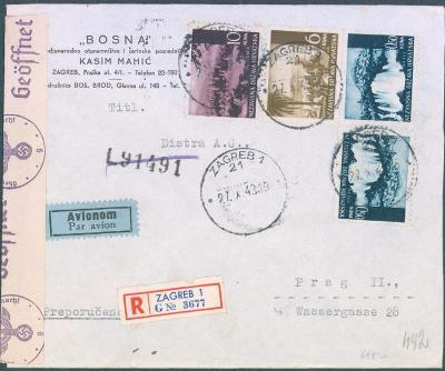 17B126 R letecký dopis Záhřeb (Bosna) do Prahy, německá cenzura