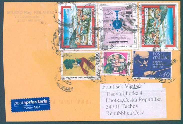 17B128 Italský dopis z Milána do Tachova, mimořádně dekorativní - Filatelie