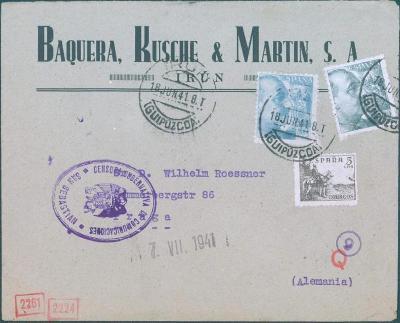 17B141 Španělský dopis do Prahy, cenzury San Sebastian a německá