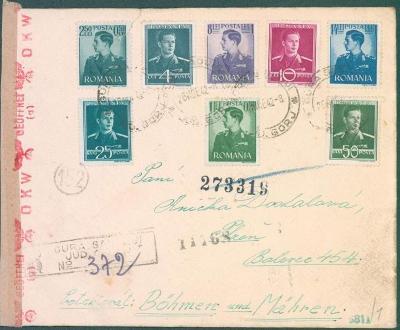 17B150 Dopis Rumunsko do Plzně rumunská cenzura, barevná frankatura