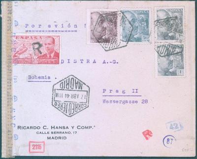 17B158 Španělský letecký dopis do Prahy, španělská cenzura