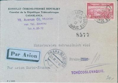 17B169 Konzulát Čs. republiky Casablanca, Maroko, do Prahy, vzácné
