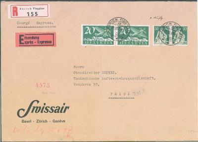 17B188 Letecký R express dopis Zurüch do Prahy