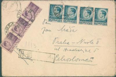 17B206 Dopis Rumunsko do Prahy, bohatá frankatura