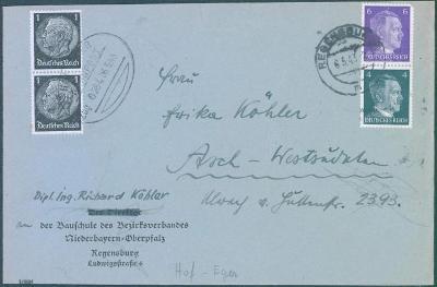 14B100 Dopis Regensburg normál. frank. + dofrank. vlak. poštou, vzácné