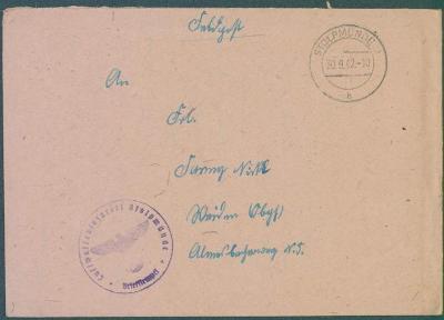 14B165 Polní pošta - vzácné razítko lazaretu pro letce Stolpmünde
