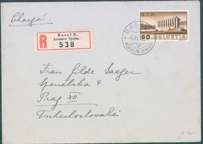 17B286 R dopis Basilej, Švýcarsko - Praha, cenzura