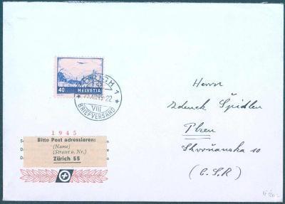 17B299 Mimořádný dopis ze Švýcarska do Plzně, zajímavé nálepky