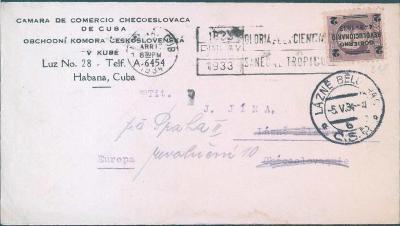 21B13 Obchodní komora čsl. Kuba, Havana - Lázně Bělohrad, Praha