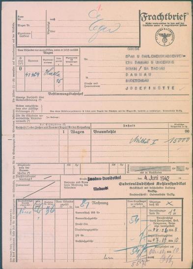 13D61 FRACHTBRIEF- JOSEFOVA HUŤ, DAMNOV, TACHOV- mimořádný nález 1944