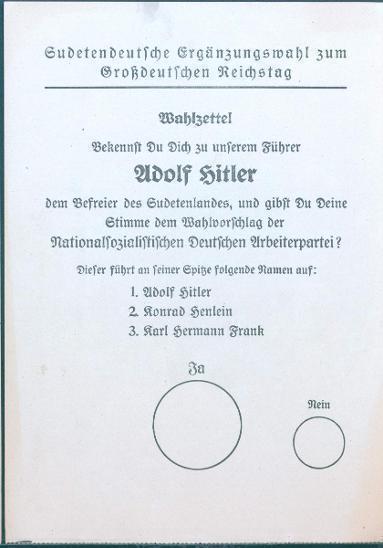 13D65 Volební lístky- REICHSTAG/ HITLER, FRANK, HENLEIN - sběratelský