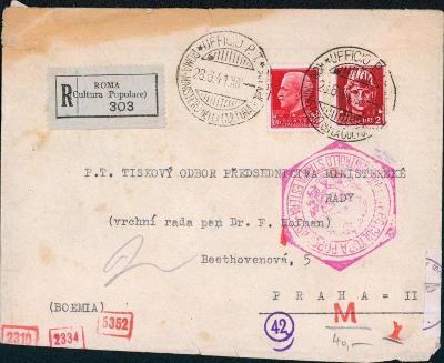 10B3064 R dopis Řím - Praha na předsednictvo ministerské, cenzura R!