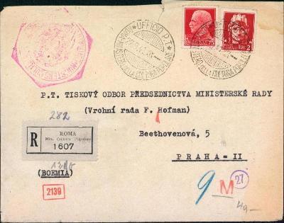 10B3065 R dopis Řím - Praha na předsednictvo ministerské, cenzura R!