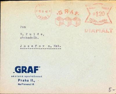 10B3074 Firemní obálka frankotyp GRAF Praha - Josefov nad Metují