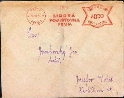 10B3075 Firemní obálka frankotyp Lidová pojišťovna Praha - Josefov