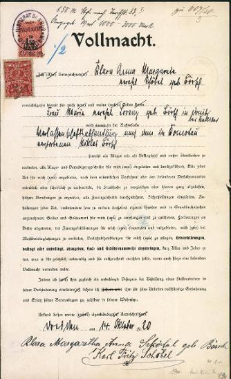 2A308 Plná moc K. Fr.  a Marg.  A. Schöbel, něm. a čs. kolek vzácné RR